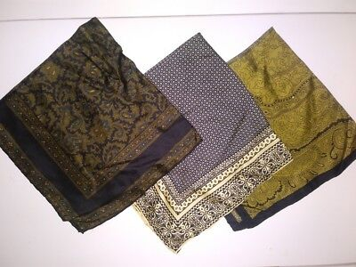 3 Vintage Men's Silk Pocket Square Scarves ASHEAR Italy Paisley Hand Rolled