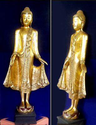 Large Antique Gold Guilded Standing Buddha Statue