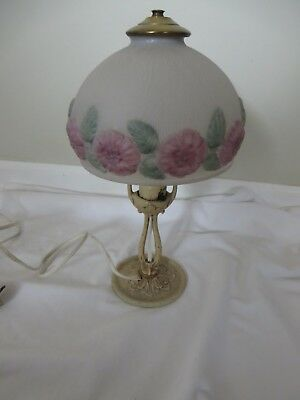 """Antique Table Lamp Painted Ornate Cast Iron Base White Floral Glass Shade 13"""" H"""