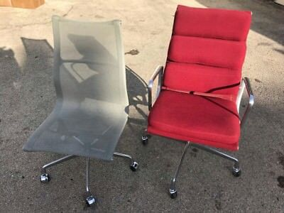 HERMAN MILLER RED High Back Aluminum Group Soft Pad Chair