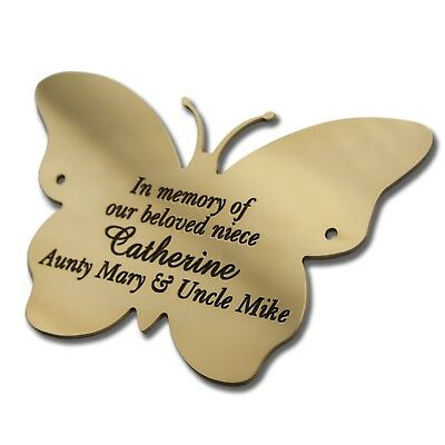 Solid Brass Butterfly plaque 4 sizes Engraved