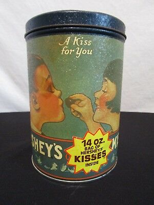 """VINTAGE Hershey's Milk Chocolate Kisses Tin Can 1980 Collectible 6"""" EMPTY"""