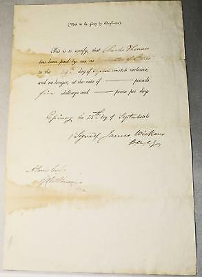 1816 SIGNED LETTER by BRITISH ARTILLERY COMMISSIONAIRES after BATTLE of WATERLOO