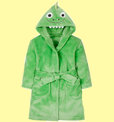 Boys Green Dinosaur Robe Dressing Gown Hood Up to 2 Years 18-24M Mothercare NEW
