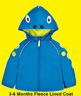 NEW Boys Dinosaur Fleece Lined Mac Coat Jacket Baby 3-6 Months Blue Mothercare