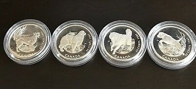 1997 Dog Breeds Proof Canada Silver 50 Cents  Lot of 4 coins