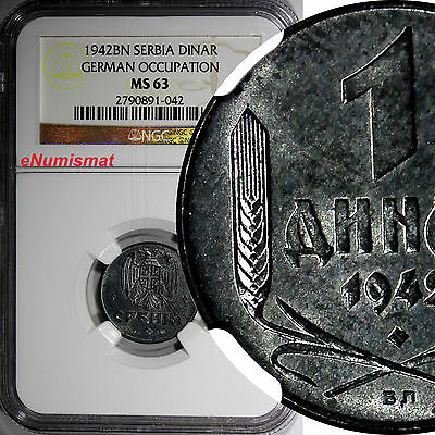 Serbia  Zinc 1942 BN 1 Dinar NGC MS63 GERMAN OCCUPATION WWII  KM# 31
