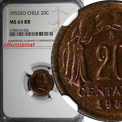 Chile Copper 1952-So 20 Centavos NGC MS64 RB TOP GRADED BY NGC KM# 177