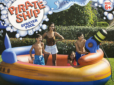 New Pirate Ship Sprayer Pool With Water Cannon Fountain & Flag & Bench Seat