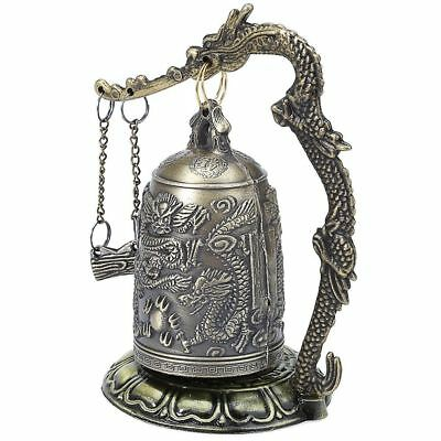 Antique Style Dragon Carved Good Luck Bell Bronze Lock Vintage Buddhist Bell