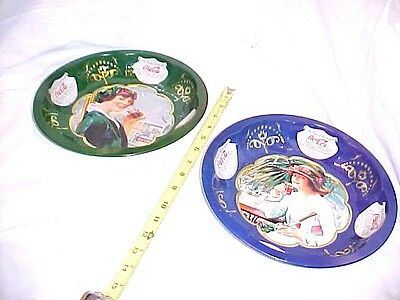 """2 Vintage Coca Cola 1993 Tin Bowls Serving Dish Bowl """"The Drink Of All The Year"""""""