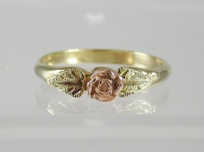 10k Yellow & Rose Gold Flower Band Ring Dainty Two Tone size 7 Retro VIntage