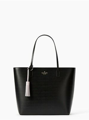 NWT Kate Spade Karla Wright Place Tote Shoulder Bag Black with tassel 0c04d53178c50