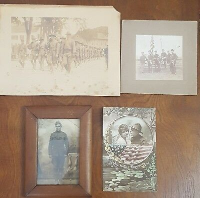 Antique Military Photographs and post card lot (4)