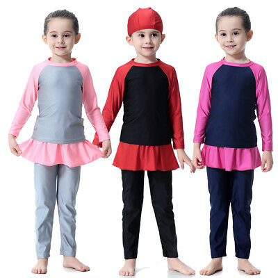 Cute Islamic Swimwear Kids Girls Muslim Swimsuit Arab Beachwear Bathing Suit+Cap