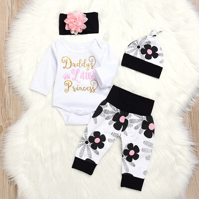 Newborn Kids Baby Girls Flower Romper Pants Leggings Hat Headband Outfit Clothes
