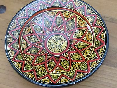 Colorful middle eastern Arabic glazed pottery bowl signed Safi