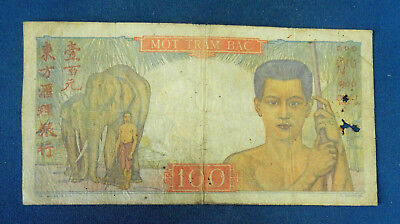 French IndoChina 100 Piastres ND 1947 - 1954. Circulated. Elephants