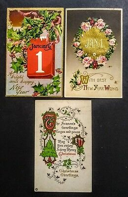 OLD Vintage Color Postcards * CHRISTMAS & NEW YEARS theme / early 1900's
