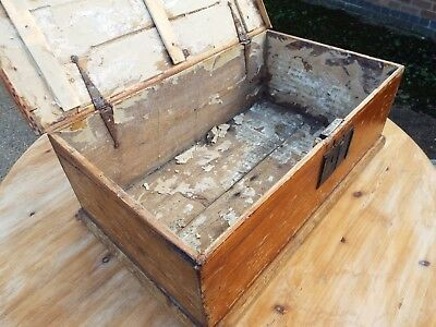 Rare Antique Pine Chest Deed Box Shakespearian Script Lining  DELIVERY POSSIBLE