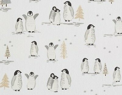 Pottery Barn Kids Winter Penguin Organic Flannel Crib Fitted Sheet