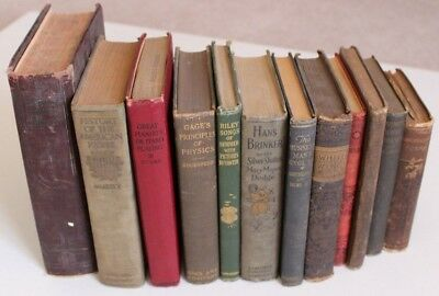Lot Of 12 Antique Victorian Vintage Books Cottage Farmhouse Library Shabby Prop