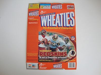2001 Washington Redskins Football Wheaties Cereal Box 69 Years of Performance