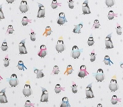 Pottery Barn Kids Winter Icy Penguin Organic Flannel Crib Fitted Sheet
