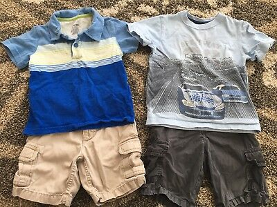 Lot Of 2 Summer Outfits Boys 3T Shorts And Short Sleeves Carters, Cherokee