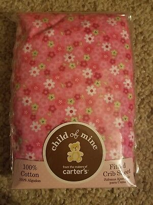 Carter's Child Of Mine Pink flowers Fitted Crib Sheet 100% Cotton BABY