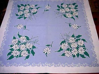 Vintage WHITE Blue Cottage GARDEN FLORAL Tablecloth Classic FLOWERS Pretty!