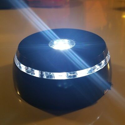 4 LED Round White Light Stand Base for Crystals Glass Art Paperweights  NEW