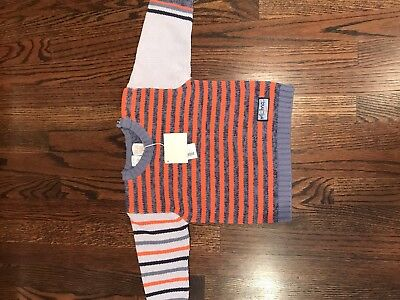 NWT Mini Man Boys Orange & Blue Sweater made in France size 24 months