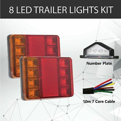 Pair of 8 LED TRAILER LIGHTS KIT - 1 x NUMBER PLATE LIGHT,10M x 7 CORE CABLE 12V
