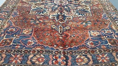 "8.6"" X 11'.9"" Rose Antique 1940s Persian Bakhtiari Oriental Rug Hand Knotted"