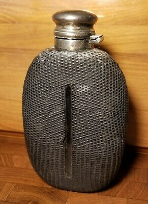 Beautiful Antique Snakeskin Covered Glass Hip Flask with Sterling Cap
