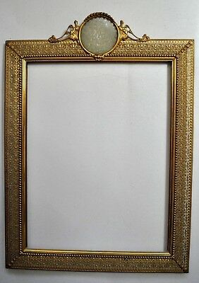 Vtg. Chinese or French chinoiserie Art Nouveau style jade and gilt picture frame