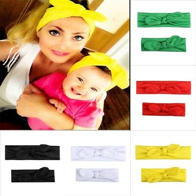 2Pcs Mother & Child Headband Women Baby Kids Girls Bow Hair Band Accessories Set