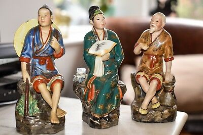 3 Oriental Figurines - fine detail and paintwork. All are marked.