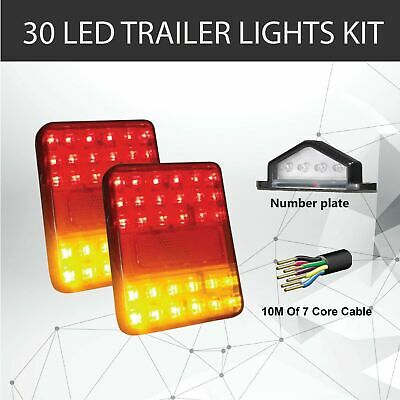 Pair of 30 LED TRAILER LIGHTS KIT - 1x NUMBER PLATE LIGHT,10M x 7 CORE CABLE 12V