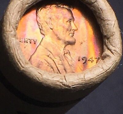 1947-P Sealed Roll -50 Bu- Brilliant Uncirculated Gem Lincoln Wheat Cent Pennies