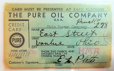 Pure Oil Company  1937  With Original Plastic Sleeve