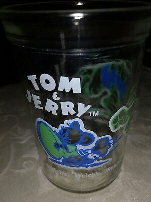 Vintage Welch's Tom & Jerry Collector Glass Cup Blue Graphics 1991