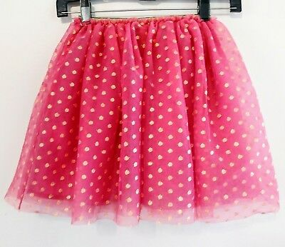Hanna Andersson~ Size 130/8 Pink & Gold Dot Tulle Skirt in VGUC