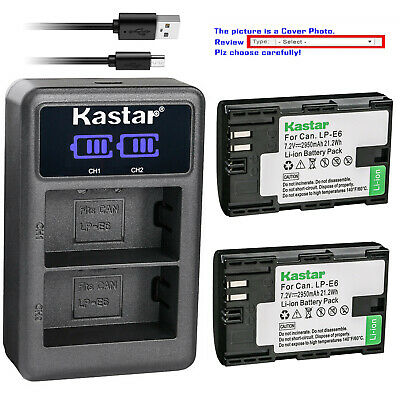 Kastar Battery LCD Dual Charger for Canon LP-E6N LC-E6 & Canon EOS 6D Mark II
