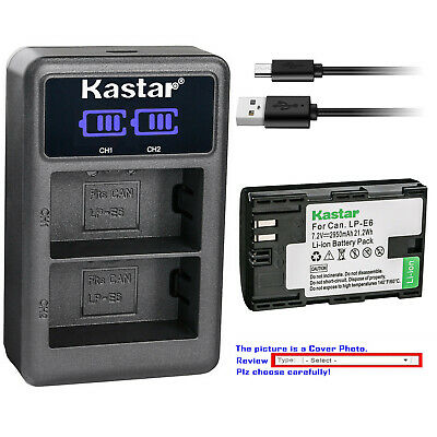 Kastar Battery LCD Dual Charger for Canon LP-E6 LP-E6N LC-E6 & Canon EOS 60D