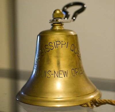 Brass Ships Bell Queen of the Mississippi - St Louis Louisiana. 6 inches tall.