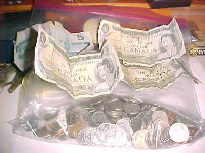 Mixed Canadian Coin And Paper Money Lot--49.98 Face Value
