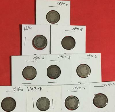1898O-1914D US Barber SILVER Dimes SEt of 10 Different Carded Mint Marked Coins!