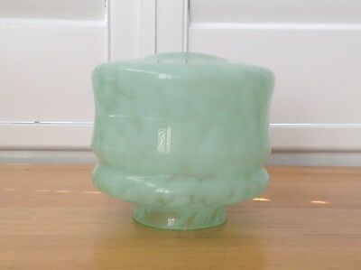 Marbled glass light shade 15 X 15 pale green good condition.